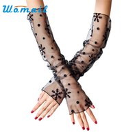 Wholesale Long Sleeve Gloves For Men - Wholesale- Womail Summer Lace Arm Cuff UV Sleeves Fashion Long Sun Protection Arm Sleeves Cover for women Sleeves Sunscreen Drop #20 Gift