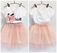 Wholesale Kids Bubble Shorts - Baby Clothes Girls Sets 2PCS Dresses Children Solid Color Short Sleeve Bowknot Tops Tulle TuTu Bubble Dress Skirt Kids Clothing XY251