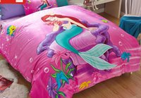 Wholesale Pillowcases For Kids - Wholesale- Free shipping Mermaid Twin full size Pink queen Girls Duvet Cover Sets for Kids Bedding Set 1 Duvet cover and 2 Pillowcases