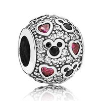 Wholesale Diy Glass Bangles - Authentic 925 Sterling Silver Bead Charm Cartoon Mouse & Love Heart With Crystal Beads Fit Women Pandora Bracelet Bangle DIY Jewelry HKA3266