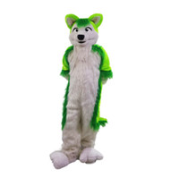 Wholesale Green Wolf Husky dog Mascot Costumes Cartoon Character Adult Sz Real Picture22