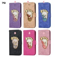 Liquid Footprint Paw Wallet Etui en cuir pour Iphone 7 6 6S Plus SE 5 5S Quicksand Bling Star Flowing Star Card Pouch TPU Phone Cover 50pcs