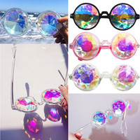 Wholesale Bling Glasses Case - Geometric Kaleidoscope Glasses Rainbow Rave Lens Bling Bling Prism Crystal Diffraction with Sunglasses Case Black Pink Clear