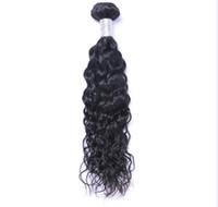 kann wasser großhandel-Malaysisches reines Menschenhaar-natürliche Wellen-Wasser-Wellen-unverarbeitetes Remy-Haar spinnt die doppelten Schussfäden 100g / Bündel 1bundle / lot, die gefärbt werden können, die gebleicht werden