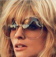 Wholesale Personality Glasses For Women - Wholesale-J36 New big circle round frame sunglasses for women bicyclic female fashion personality Oculos Feminino oversized sun Glasses