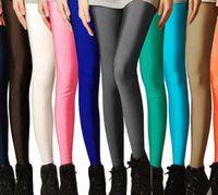 moda neon şeker toptan satış-Moda elastik floresan süper elastik ince marka şeker renk neon 9 pantolon kadınlar için ücretsiz kargo şekillendirme tayt zw083
