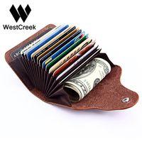 deri toka id kartı toptan satış-Toptan-Westcreek Marka Vintage Büyük Kapasiteli Erkekler Cardholder Bölünmüş Deri İş Kadın Tutucu Toka Kart id Tutucular