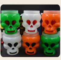 Wholesale Lighted Wholesale Halloween Buckets - Hot Halloween Skull Bucket Supplies Skull Stage Props Bonbonniere Festival Event Party Decoration Party Supplies CCA7457 120pcs