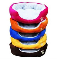 Wholesale Colorful pet bed dog cat bed cotton warm dog beds in winter color red orange blue brown yellow rose pink size M L