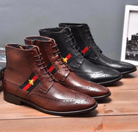 Wholesale pointed toe boots for men resale online - Italian Brand Genuine Leather Martin boots Brogue Men Designer Fashion Boots For Men New Arrive Leather Men Ankle Boots
