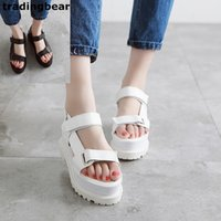 Wholesale Thick Sole Platform Sandals - New women platform sandals 7cm white black thick sole soft comfortable casual shoes size 35 to 39