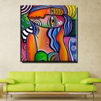 pintura al óleo para la decoración del dormitorio al por mayor-ZZ1011 arte pop moderno colorido retrato abstracto lienzo pintura al óleo cuadros de la pared para sala de estar dormitorio decoración
