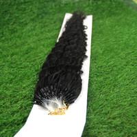Wholesale Deep Curly Micro Loop - Unprocessed virgin brazilian deep curly hair micro loop ring hair extensions 100g brazilian kinky curly micro ring hair extensions 100s