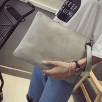 Wholesale Wholesale Leather Envelope Clutch - Fashion solid women's clutch bag leather women envelope bag clutch evening bag female Clutches Handbag Immediately shipping