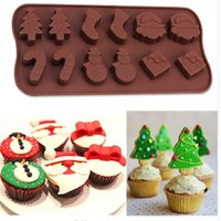 Wholesale Silicone Tree - Silicone Cake Molds Silicone Molds Snowman Christmas Tree Wand Socks Brown Chocolate Molds Baking Tools Wholesale 0702107