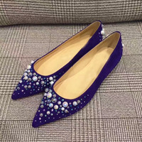Wholesale Pointed Shoes Flat Bottoms - Fashion Women Pearls & Crystal Flats Elegant Comfortable Red Bottom Shoes Pointed-toe Slip on Ladies Girls Flat Party Wedding Dress 35-42