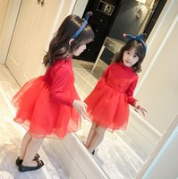Wholesale Gauze Dresses For Kids - Christmas Ball Gown for kids long sleeve thicken red party dress girls stereo gauze flower knee length princess dress pageant dress R0047