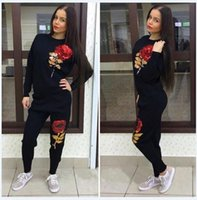 Wholesale Martial Arts T Shirts - Black Gray Cotton Women Tracksuits Leisure 2017 New Arrivals Embroidery Rose Flower Sequins Long Sleeve T Shirt Sets Casual Sport Clothing