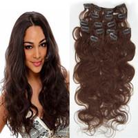 Wholesale Extensions Clip Auburn 33 - 8A 7pcs set #33 Body Wave clip in human hair extensions brazilian hair clip in extension unprocessed hair extensions