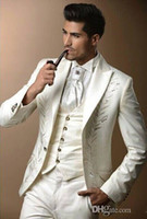 Wholesale Ivory Wedding Suits For Men - Custom made three pieces groom tuxedos real picture wedding suits for men Groom Groomsmen Tuxedos mens wedding suits (Jacket+Pant+Vest+Tie)