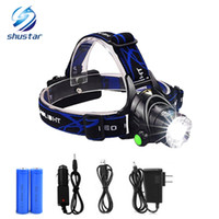 Wholesale Headlamp Hiking - shustar CREE XML T6 headlights headlamp Zoom waterproof 18650 rechargeable battery Led Head Lamp Bicycle Camping Hiking Super Bright Light