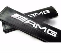 ingrosso cuscino della cintura-2Pcs / SET Car auto camion AMG potere in fibra di carbonio veicolo di grande qualità cintura di sicurezza cuscini spalline