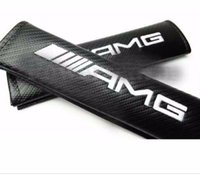 Wholesale Carbon Fiber Vehicle - 2Pcs SET Car auto truck AMG Power Carbon Fiber Vehicle Great Quality Seat Belt Cushions Shoulder Pads