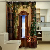 Porta Natale Shower Curtain personalizzato impermeabile 3D Shower Curtain Poliestere Digital Print bagno cortina di 180cm * 180 centimetri