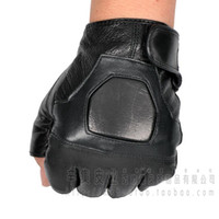 Wholesale Male Genuine Leather Gloves - Wholesale- 2015 men's Semi-finger breathable genuine leather gloves male sheepskin leather outside sports gloves tactical gloves