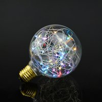 Wholesale E27 String - Wholesale- RGB LED Night Light Filament lamp Retro Edison Fairy LED light String Bulb G95 E27 110V 220V For Indoor Christmas Holiday