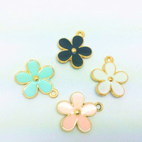 Wholesale Gold Tone Key Charm - Free Shipping 10pcs lot 24*21MM Gold Tone Enamel Five-petaled Flower Charm Alloy Pendant For Necklace Key rings DIY Accessories
