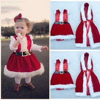 Wholesale Toddler Girls Winter Dress Coats - Wholesale- toddler children clothes Baby Romper Boy Girl Xmas Set Dress Kid Santa Claus Costume Children Christmas Suit Cloak Coat Outwear