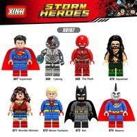 Wholesale Wonder Woman Figure - 120pcs Mix Lot Super Heroes Minifig Superman Wonder Woman Cyborg Bat Aquaman Bizarro The Flash XINH X0167 Mini Building Blocks Figures