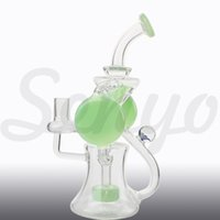 Wholesale Bulls Balls - New glass American quality ball bongs thick bong 10.5 inch Banger Hanger oil rig recycler water pipe with Bull horn glass bowl