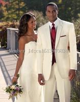 terno vestido de marfim para homens venda por atacado-Atacado- 2016 New Ivory Two Button noivo smoking entalhe lapela Formal casamento vestido Groomsman Suit para homens (Jacket + Pants + colete + gravata) custom ma