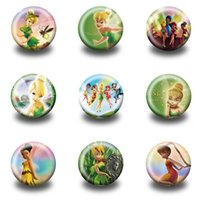 Wholesale Tinker Clothing - Tinker Bell Cute Pins Buttons Brooches Round Badges 3.0CM Diameter Clothing Bags Accessories Children Birthday Party Gifts
