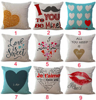 Wholesale Love Hearts Bedding - Lovers' prattle I Love You Heart pattern Pillow Case Cushion cover Linen Cotton Throw Pillowcases sofa Bed Car Decorative Pillow covers