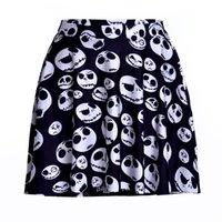 Wholesale Plus Size Christmas Tutu - NEW 1123 Summer Sexy Girl Jack Skull Nightmare Before Christmas Printed Cheering Squad Tutu Skater Sport Women Mini Pleated Skirt Plus Size