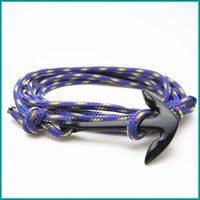 Wholesale Leather Cord Bracelets Sale - Free Shipping 5pcs  lot hot selling fashion jewelry Top Sale IP Plating Anchor Black Sheep Cord Cheap Miansai Bracelet Men
