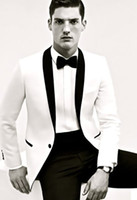 Handsome White Wedding Tuxedos Slim Fit Black Shawl Lapel Ternos para Homens Cheap One Button Groom Jacket Free Fee Bow Tie