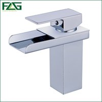 Wholesale Square Vessel Faucet - FLG New Arrival Basin Faucet Square Waterfall Chrome Cast 2 Cold&Hot Deck Mounted Torneira Lavabo Vessel Faucet Basin Tap M053C