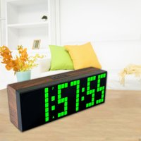Wholesale Wood Wall Watch - Wholesale-Green LED Digital Wall Table Clock with Alarm Countdown Function Show Temperature Calendar Wood Grain Shell Modern Watch