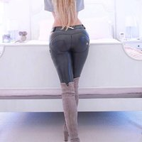 Wholesale Tights Pants Leather - Woman High Elastic Low Waist Tight Trousers Pu Leather Pants Shaping Sexy Hip Freddy Fitness Pencil Pants Push Up Pants