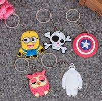 Wholesale Despicable Key Rings - Cute Kawaii Cartoon Animal Silicone Key rings car Keychain Key Chains Pendant Baymax Despicable Me Key Ring Toys