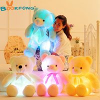 Wholesale Dh Lights - Wholesale Price 50cm Creative Light Up LED Teddy Bear Stuffed Animals Plush Toy Colorful Glowing Teddy Bear Christmas Gift for Kids DH;