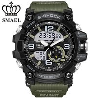 Wholesale Digital Watch Stopwatch - New SMAEL Brand Watch Men Wateproof S Shock Sport Watch LED Digital Clock Men's Wristwatch Male Clock Military Watch Army WS1617