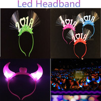 Wholesale Plastic Horns Headband - 2018 Horns LED Headband Plastic Light Up Head Hoop Glowing hairband Christmas Halloween Parties Decoration 2 models Mixed Colors DHL free