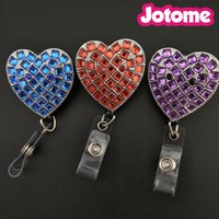 Wholesale first engagement - 50PCS Lot Choose Color First, Big Heart Pendant Nurse Gift Retractable ID Name Badge Reel Holder