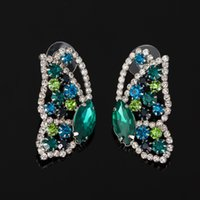 Wholesale Earrings For Designers - 2017 Best Fashion sliver Women Lovely Butterfly Crystal Stud Earrings Famous Designer Jewelry for Women Free Shipping #E051