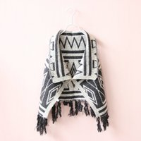 Wholesale Cape Poncho Shawl Kids - 2017 New Autumn Winter Girls Tassel Poncho Cute Baby Girl Geometric Plaid Knitting Cape Outwear Kids Princess Shawl Children Coats 90-130cm